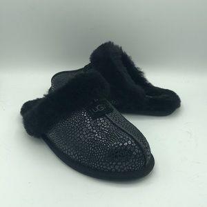 UGG Scuffette Black Suede Glitzy Black Slippers